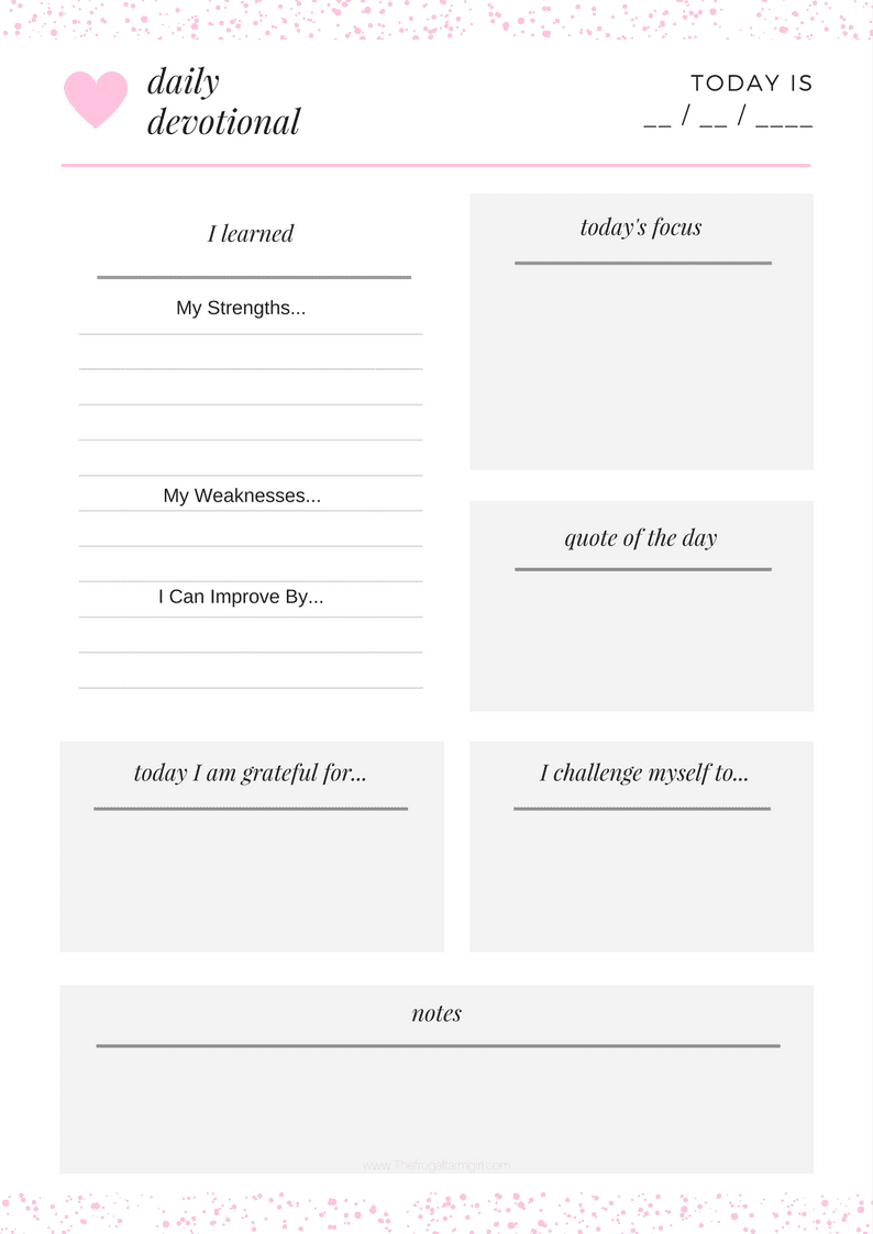 photograph about Printable Devotions identified as Totally free Individual Everyday Devotional Printable - The Frugal Farm Lady