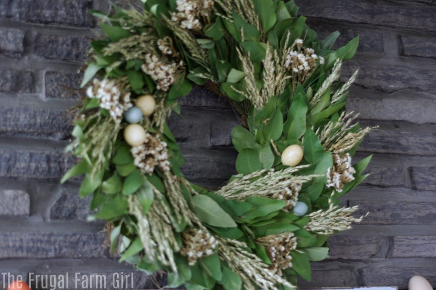 Easter Mantel decorations from a 1850s farmhouse. This frugal farm girl only buys her Easter decor on clearance or after season sales. Check out the ideas and ways to save this holiday.
