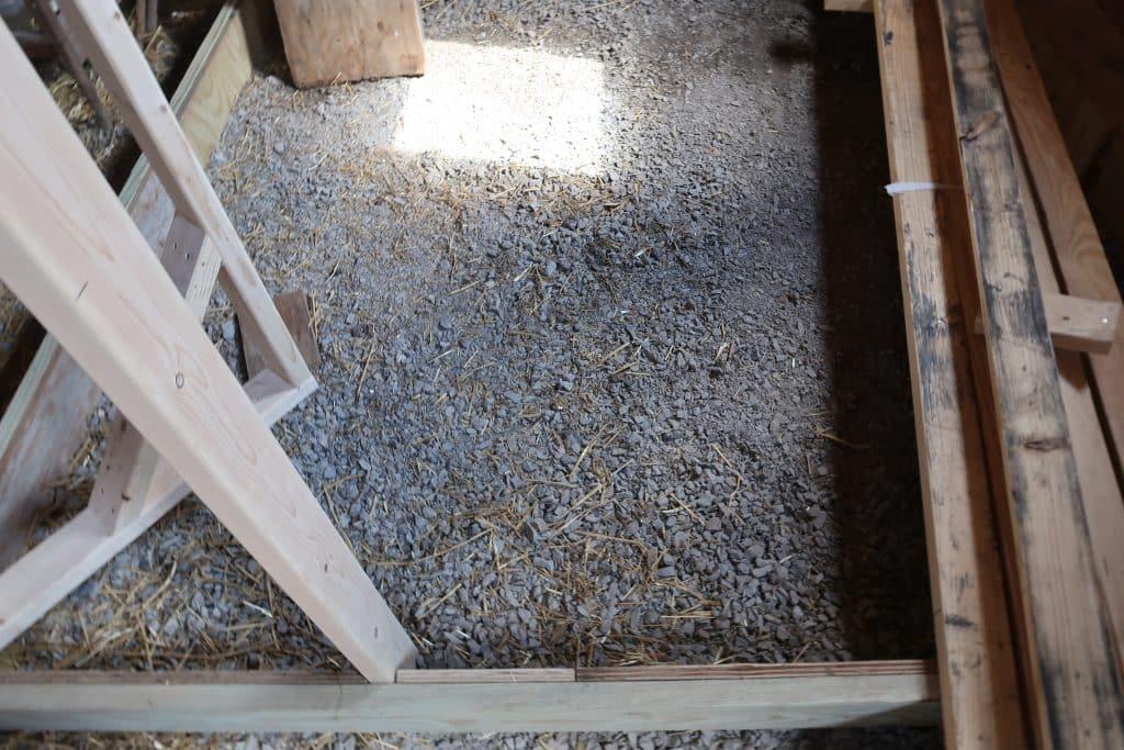 preparing ground for chicken coop- gravel