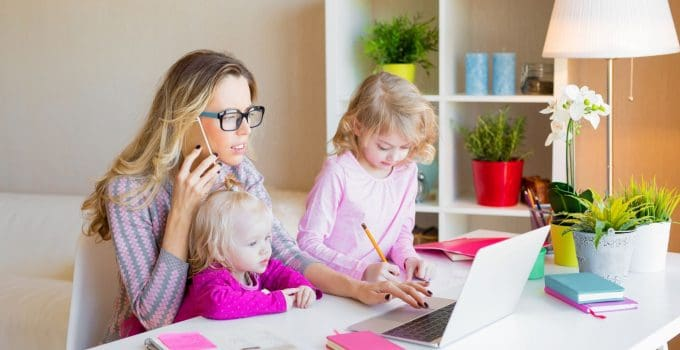 mom working from home tips